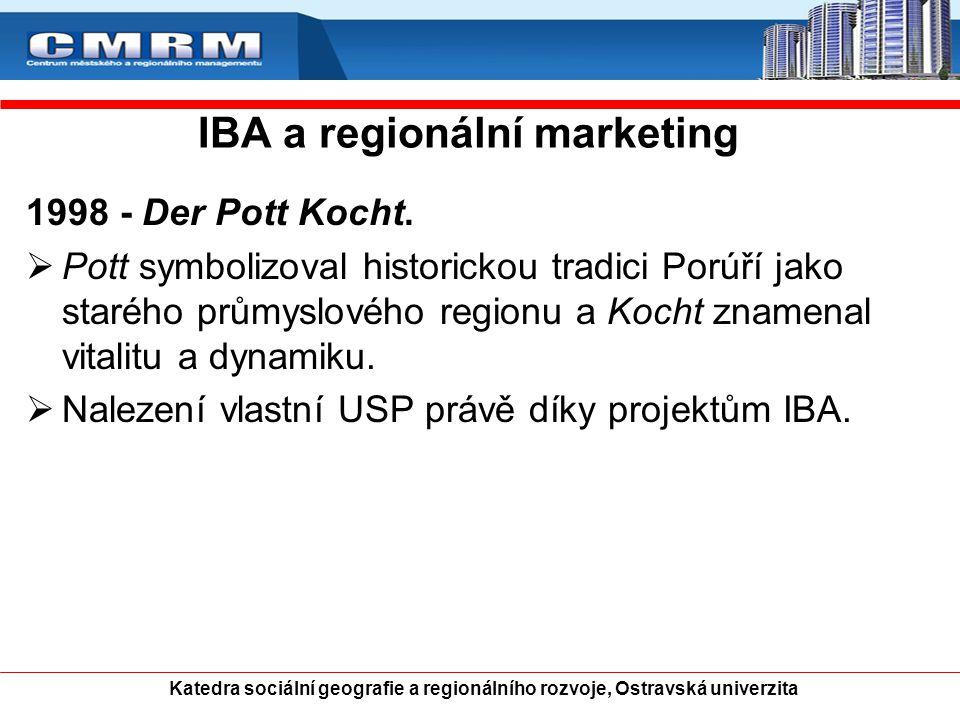 IBA a regionální marketing 1998 - Der Pott Kocht.  Pott symbolizoval historickou tradici Porúří jako starého průmyslového regionu a Kocht znamenal vi