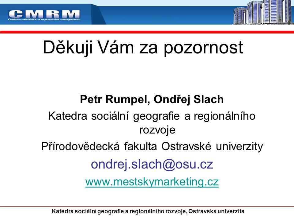 Děkuji Vám za pozornost Petr Rumpel, Ondřej Slach Katedra sociální geografie a regionálního rozvoje Přírodovědecká fakulta Ostravské univerzity ondrej
