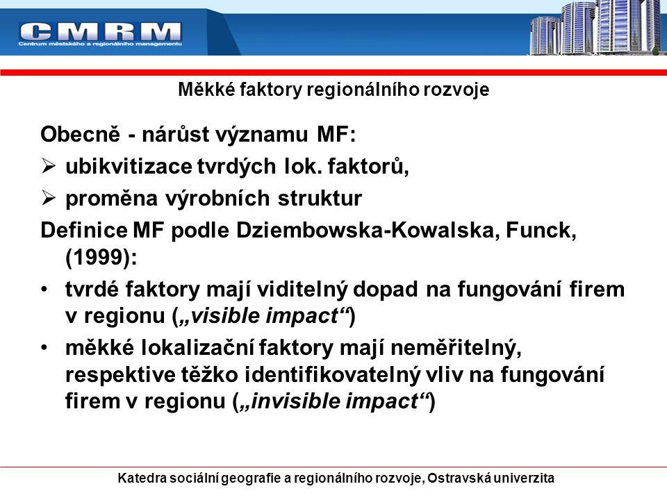 Katedra sociální geografie a regionálního rozvoje, Ostravská univerzita Měkké faktory regionálního rozvoje Obecně - nárůst významu MF:  ubikvitizace tvrdých lok.