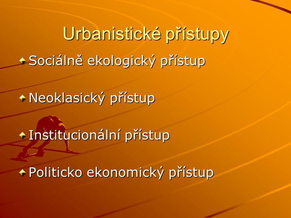 Urbanistické přístupy Sociálně ekologický přístup Neoklasický přístup Institucionální přístup Politicko ekonomický přístup