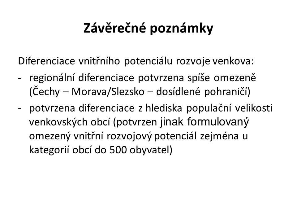 Závěrečné poznámky Diferenciace vnitřního potenciálu rozvoje venkova: -regionální diferenciace potvrzena spíše omezeně (Čechy – Morava/Slezsko – dosídlené pohraničí) -potvrzena diferenciace z hlediska populační velikosti venkovských obcí (potvrzen jinak formulovaný omezený vnitřní rozvojový potenciál zejména u kategorií obcí do 500 obyvatel)