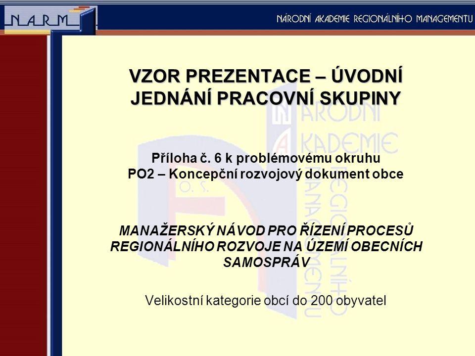 VZOR PREZENTACE – ÚVODNÍ JEDNÁNÍ PRACOVNÍ SKUPINY Příloha č.