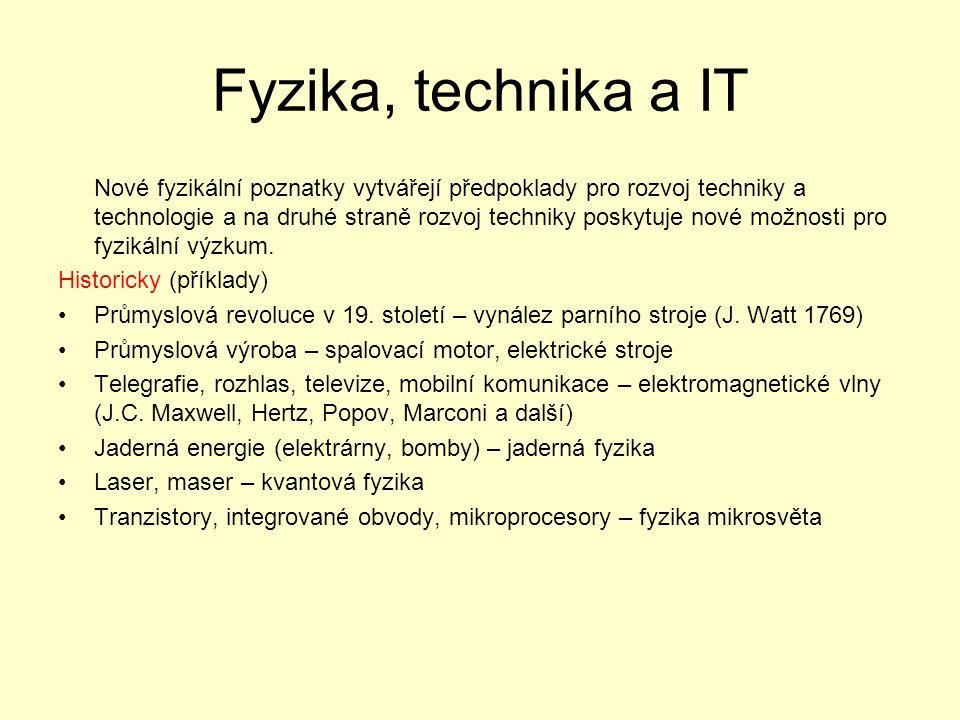 Fyzika, technika a IT Nové fyzikální poznatky vytvářejí předpoklady pro rozvoj techniky a technologie a na druhé straně rozvoj techniky poskytuje nové