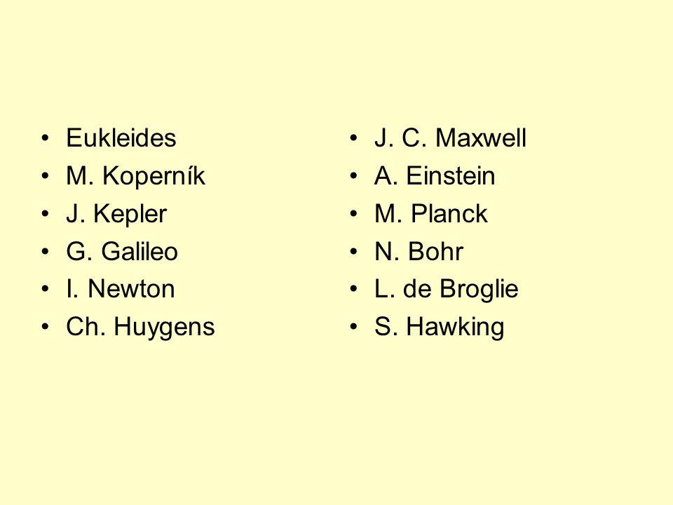 Eukleides M. Koperník J. Kepler G. Galileo I. Newton Ch. Huygens J. C. Maxwell A. Einstein M. Planck N. Bohr L. de Broglie S. Hawking