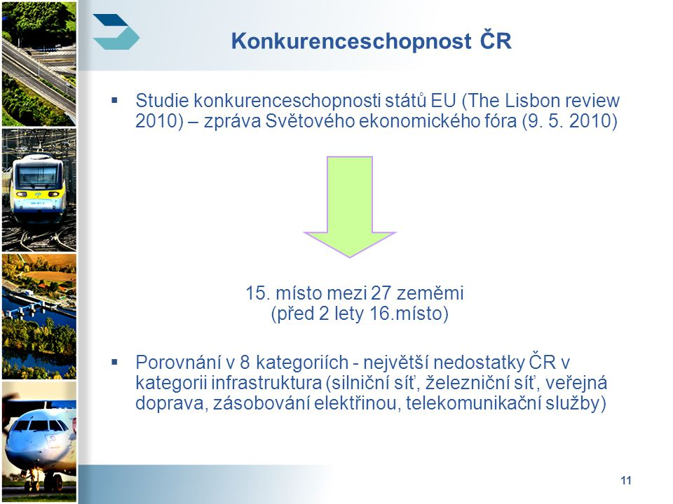 11 Konkurenceschopnost ČR  Studie konkurenceschopnosti států EU (The Lisbon review 2010) – zpráva Světového ekonomického fóra (9.
