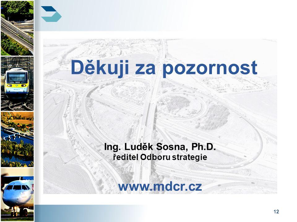 12 Děkuji za pozornost Ing. Luděk Sosna, Ph.D. ředitel Odboru strategie www.mdcr.cz