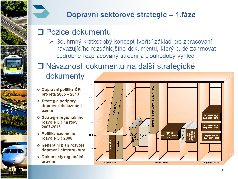 4 Logický rámec dokumentu 1.Analýza konkurenceschopnosti dopravních odvětví 2.Stanovení základních služeb 3.Analýza mezer 4.Multikriteriální analýza 5.Finanční zdroje 6.Implementační a investiční plán