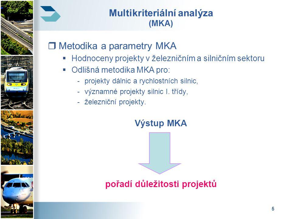 6 Multikriteriální analýza - kritéria  Dálnice, rychlostní silnice a silnice I.