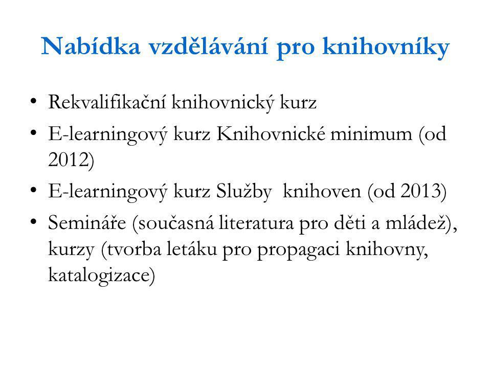 Nabídka vzdělávání pro knihovníky Rekvalifikační knihovnický kurz E-learningový kurz Knihovnické minimum (od 2012) E-learningový kurz Služby knihoven