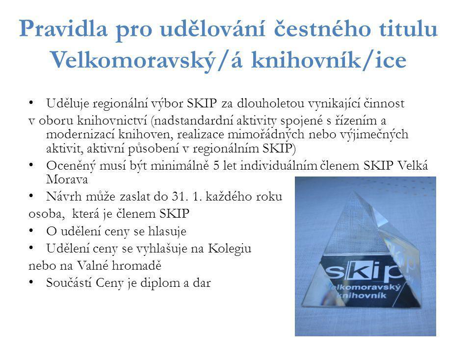 Pravidla pro udělování čestného titulu Velkomoravský/á knihovník/ice Uděluje regionální výbor SKIP za dlouholetou vynikající činnost v oboru knihovnic