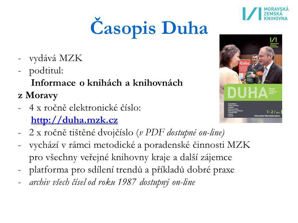 Časopis Duha -vydává MZK -podtitul: Informace o knihách a knihovnách z Moravy -4 x ročně elektronické číslo: http://duha.mzk.cz -2 x ročně tištěné dvo
