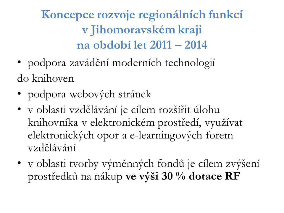 Koncepce rozvoje regionálních funkcí v Jihomoravském kraji na období let 2011 – 2014 podpora zavádění moderních technologií do knihoven podpora webový