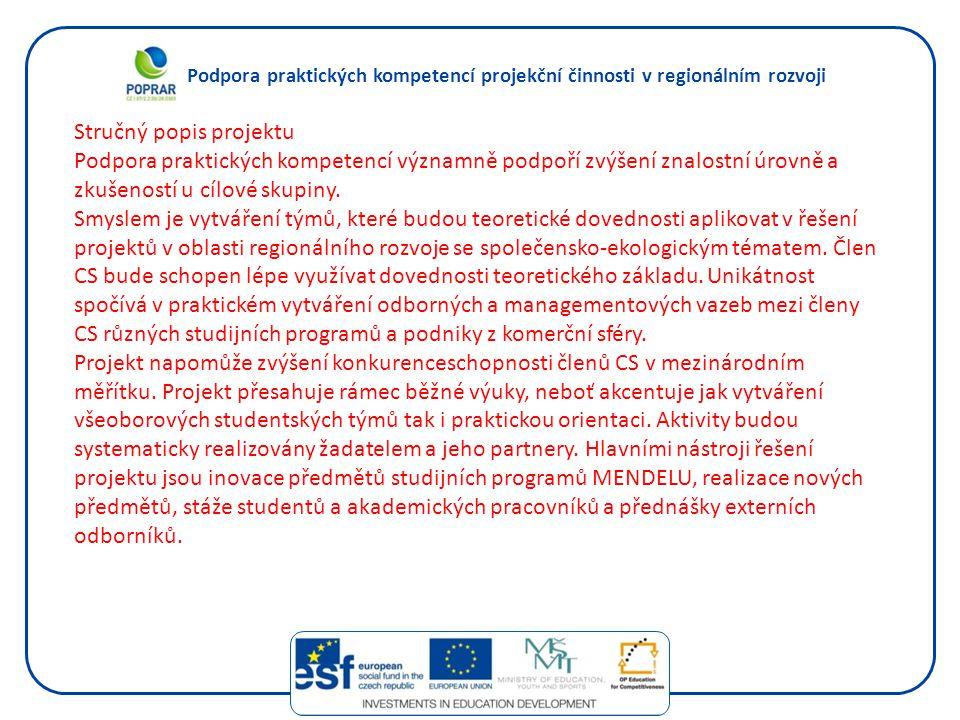 Podpora praktických kompetencí projekční činnosti v regionálním rozvoji Stručný popis projektu Podpora praktických kompetencí významně podpoří zvýšení znalostní úrovně a zkušeností u cílové skupiny.