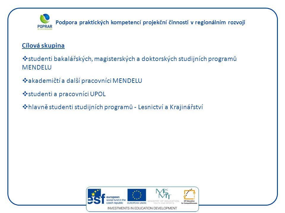 Podpora praktických kompetencí projekční činnosti v regionálním rozvoji Klíčové aktivity 1.Inovace studijních programů v souladu s požadavky znalostní ekonomiky a potřebami trhu práce.