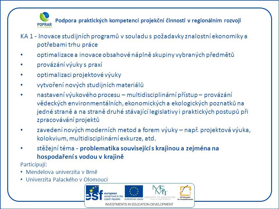 Podpora praktických kompetencí projekční činnosti v regionálním rozvoji KA 1 - Inovace studijních programů v souladu s požadavky znalostní ekonomiky a potřebami trhu práce optimalizace a inovace obsahové náplně skupiny vybraných předmětů provázání výuky s praxí optimalizaci projektové výuky vytvoření nových studijních materiálů nastavení výukového procesu – multidisciplinární přístup – provázání vědeckých environmentálních, ekonomických a ekologických poznatků na jedné straně a na straně druhé stávající legislativy i praktických postupů při zpracovávání projektů zavedení nových moderních metod a forem výuky – např.