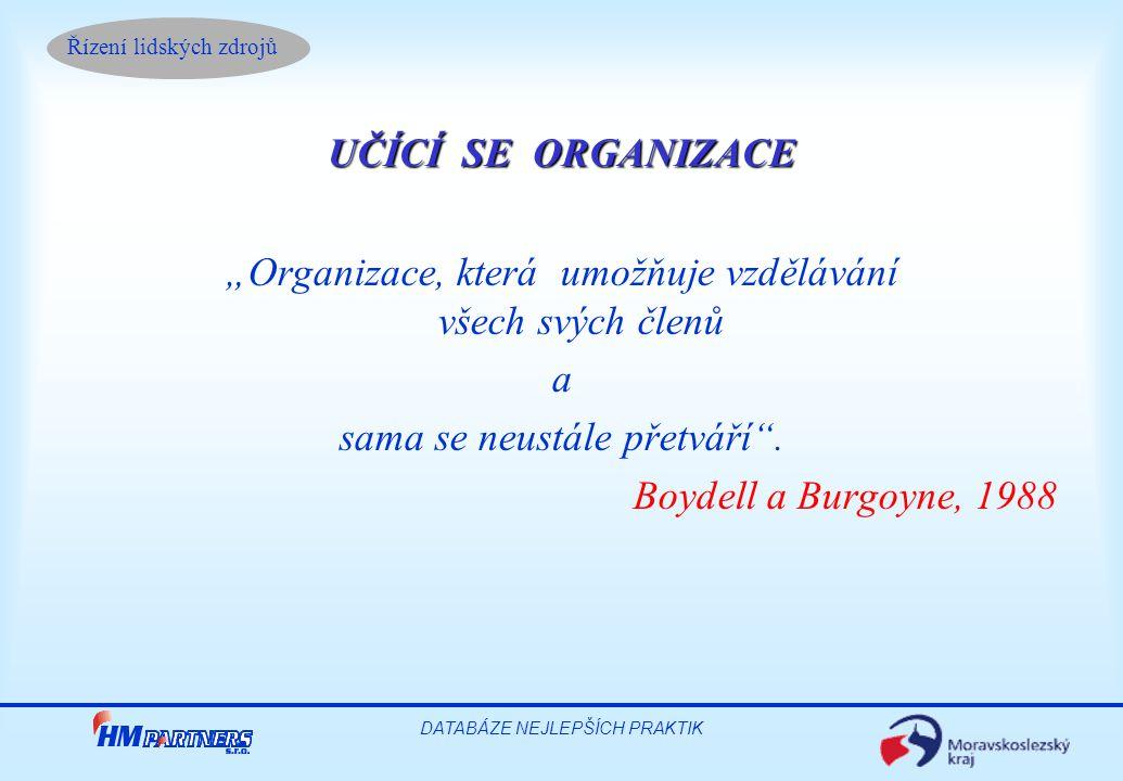 """Řízení lidských zdrojů DATABÁZE NEJLEPŠÍCH PRAKTIK UČÍCÍ SE ORGANIZACE """"Organizace, která umožňuje vzdělávání všech svých členů a sama se neustále přetváří ."""