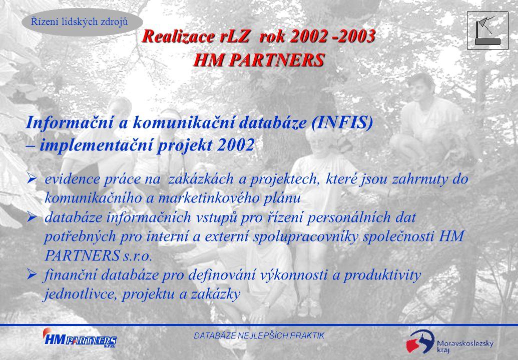Řízení lidských zdrojů DATABÁZE NEJLEPŠÍCH PRAKTIK Informační a komunikační databáze (INFIS) – implementační projekt 2002  evidence práce na zakázkác