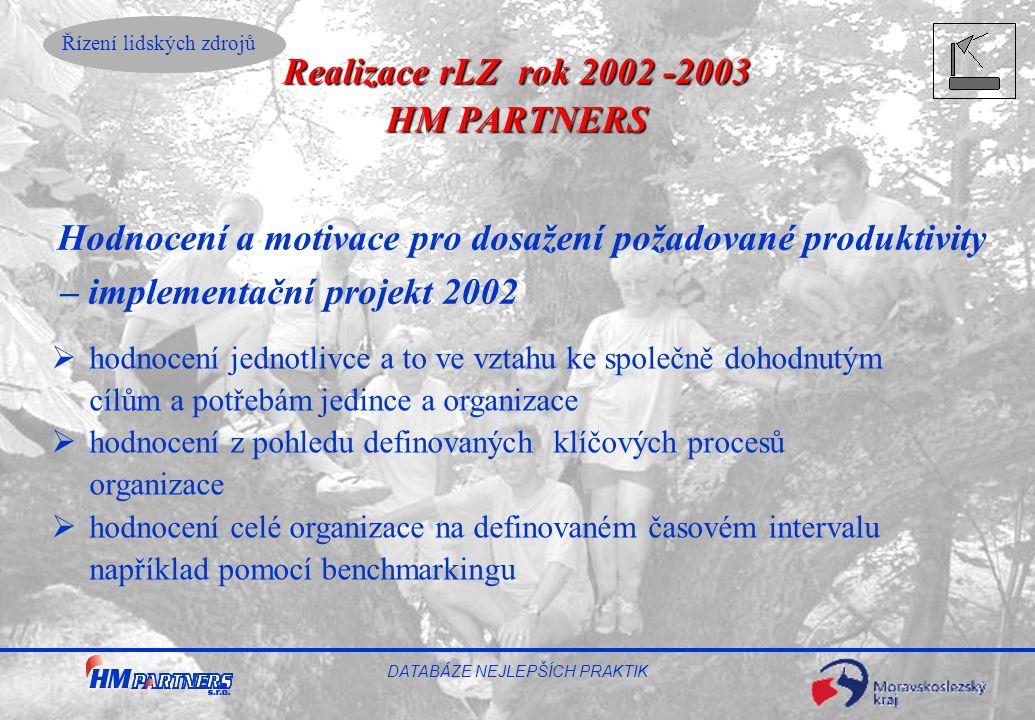 Řízení lidských zdrojů DATABÁZE NEJLEPŠÍCH PRAKTIK Hodnocení a motivace pro dosažení požadované produktivity – implementační projekt 2002  hodnocení
