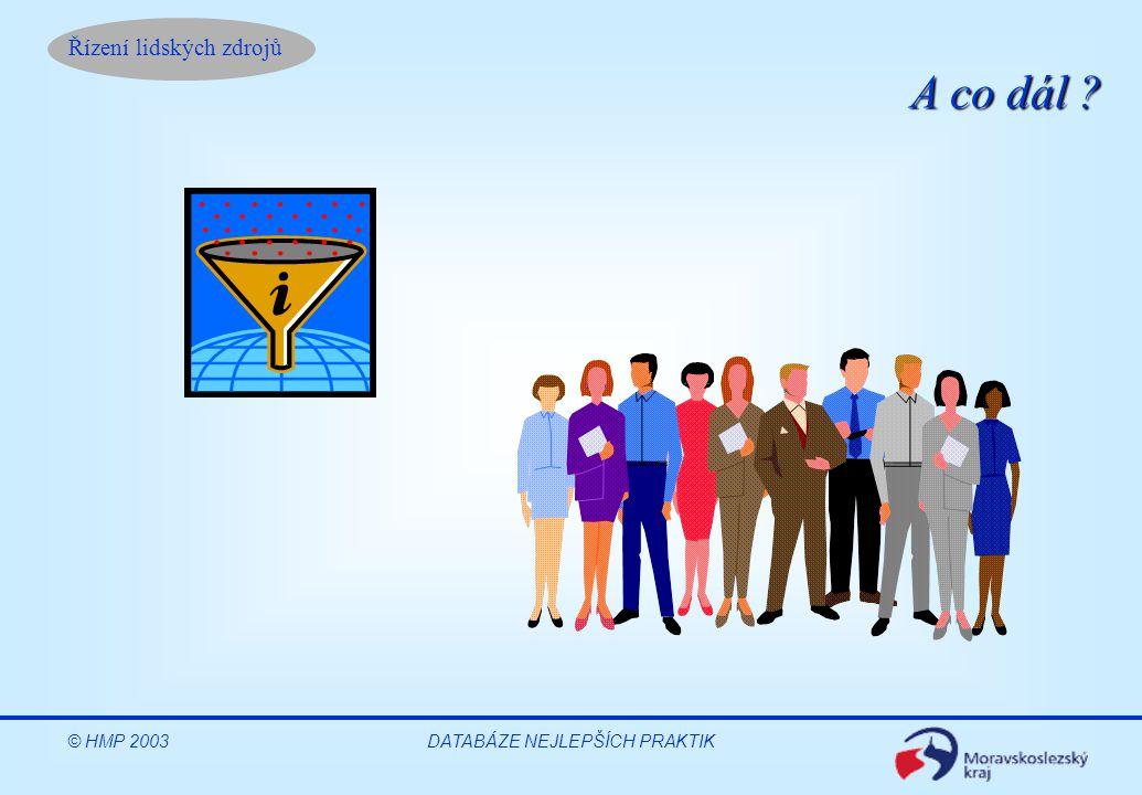 Řízení lidských zdrojů DATABÁZE NEJLEPŠÍCH PRAKTIK OBLAST Klíčové Produkty HMP Počet trenérů/ konzultantů Nové dovednosti Rozvoj organizací ŠV, ŘLZ, projekty aj.