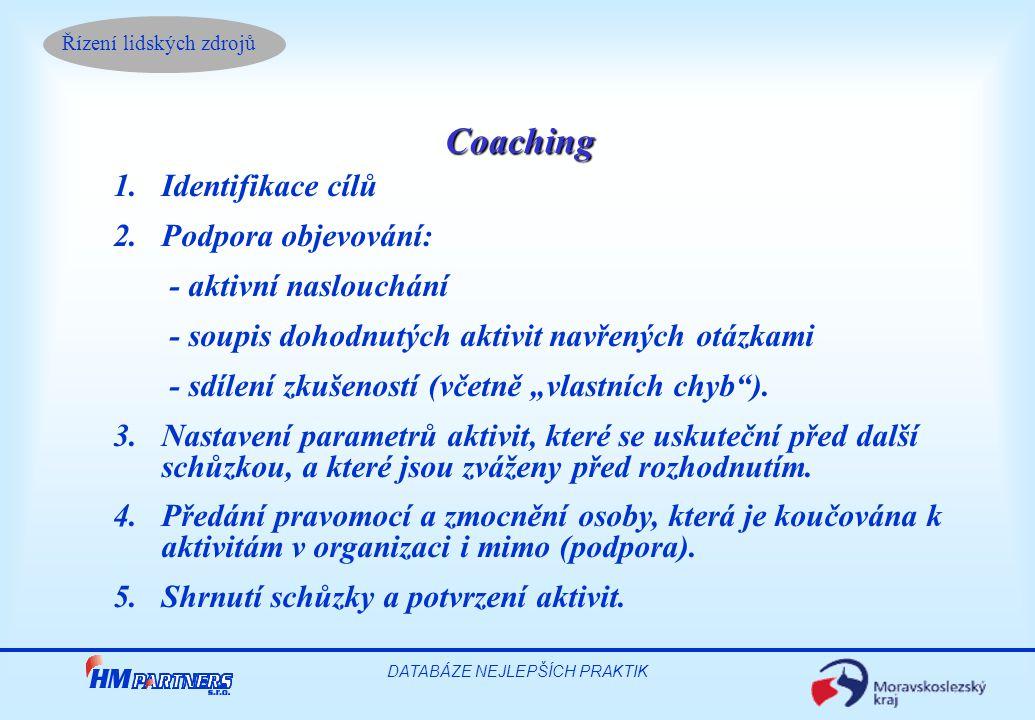 Řízení lidských zdrojů DATABÁZE NEJLEPŠÍCH PRAKTIK Coaching 1.Identifikace cílů 2.Podpora objevování: - aktivní naslouchání - soupis dohodnutých aktiv