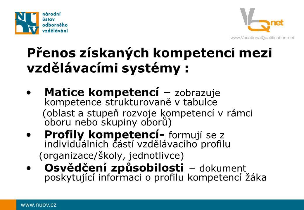 Přenos získaných kompetencí mezi vzdělávacími systémy : Matice kompetencí – zobrazuje kompetence strukturovaně v tabulce (oblast a stupeň rozvoje kompetencí v rámci oboru nebo skupiny oborů) Profily kompetencí- formují se z individuálních částí vzdělávacího profilu (organizace/školy, jednotlivce) Osvědčení způsobilosti – dokument poskytující informaci o profilu kompetencí žáka