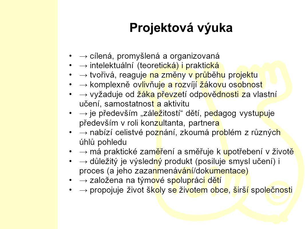 Projektová výuka → cílená, promyšlená a organizovaná → intelektuální (teoretická) i praktická → tvořivá, reaguje na změny v průběhu projektu → komplex