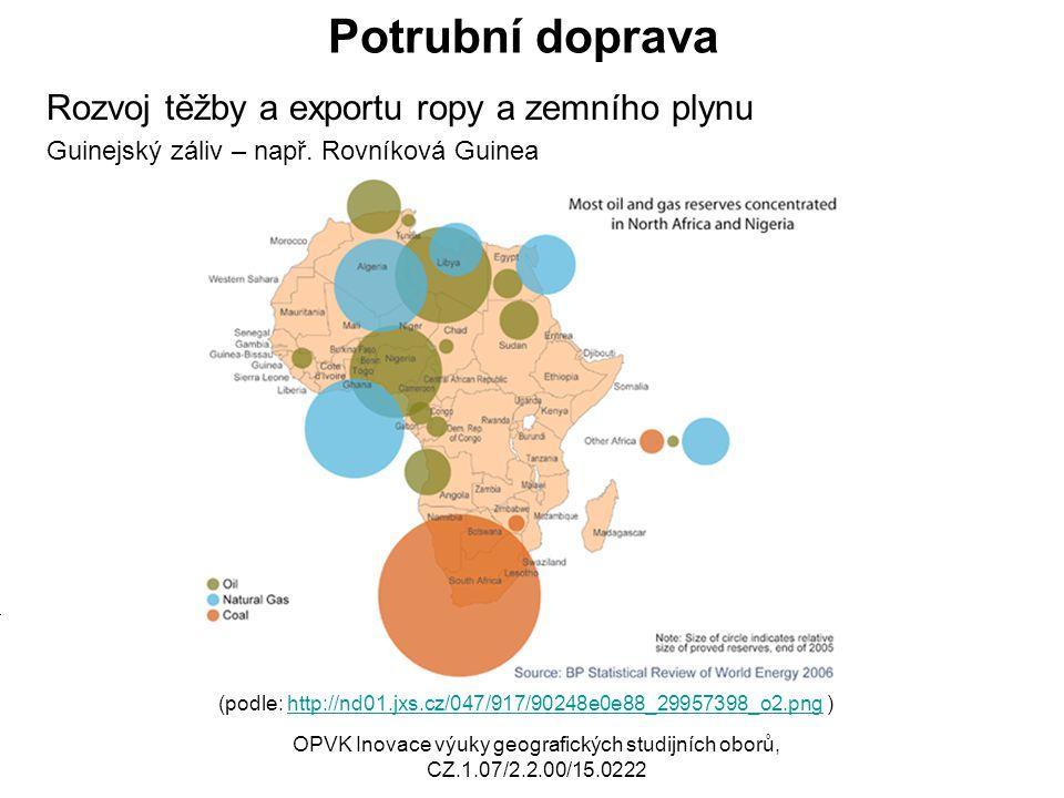 Potrubní doprava Rozvoj těžby a exportu ropy a zemního plynu Guinejský záliv – např. Rovníková Guinea (podle: http://nd01.jxs.cz/047/917/90248e0e88_29