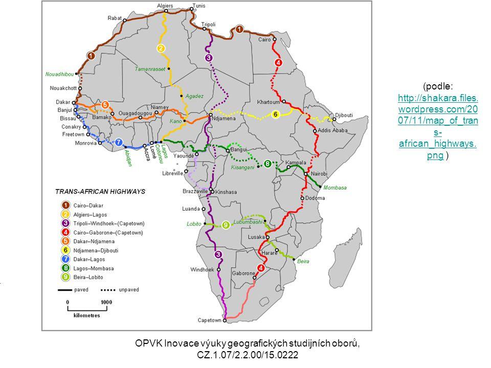 Říční doprava Omezená splavnost afrických řek Celková délka splavných toků 40000 km2 Zejm.