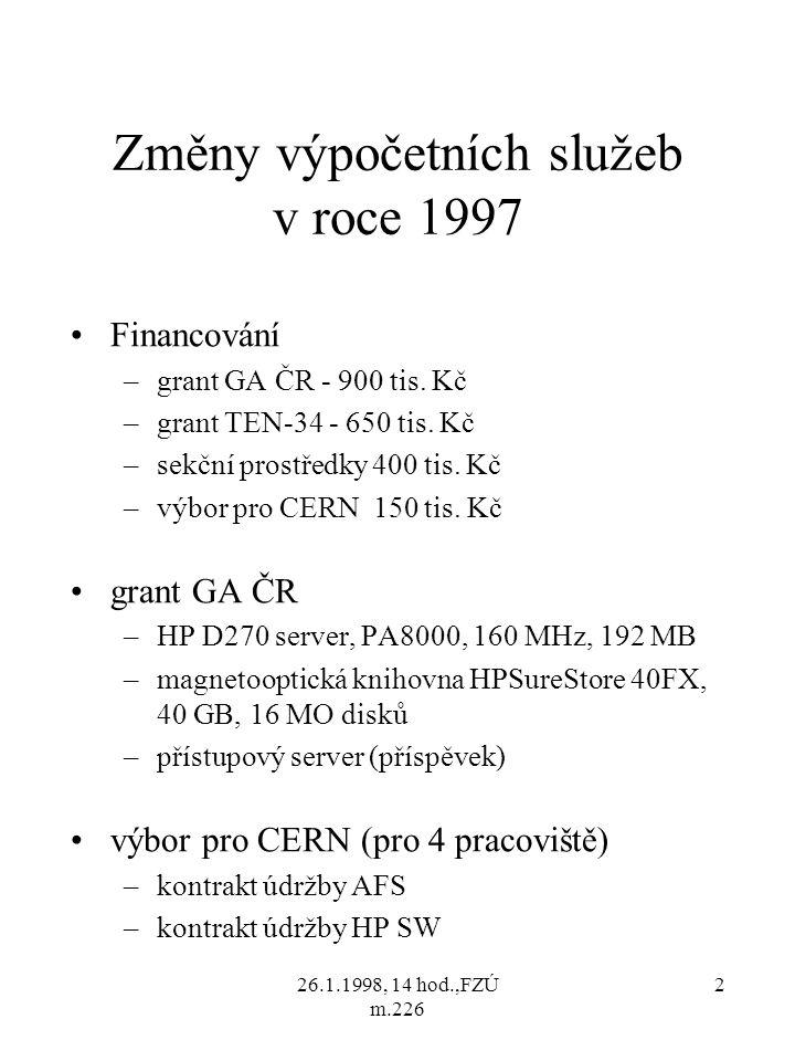 26.1.1998, 14 hod.,FZÚ m.226 3 Změny výpočetních služeb v roce 1997 (pokr.) grant TEN-34 (i podpora celoústavních prostředků) –soustava přepínačů CISCO 3000 –přístupový server CISCO 2511 –faxmodemy US Robotics, 28 800 b/s sekční prostředky –diskový prostor 12GB –tiskárna HP LJ5SiMX, Duplex –xerox Cannon 6028, Duplex –fax Cannon B110