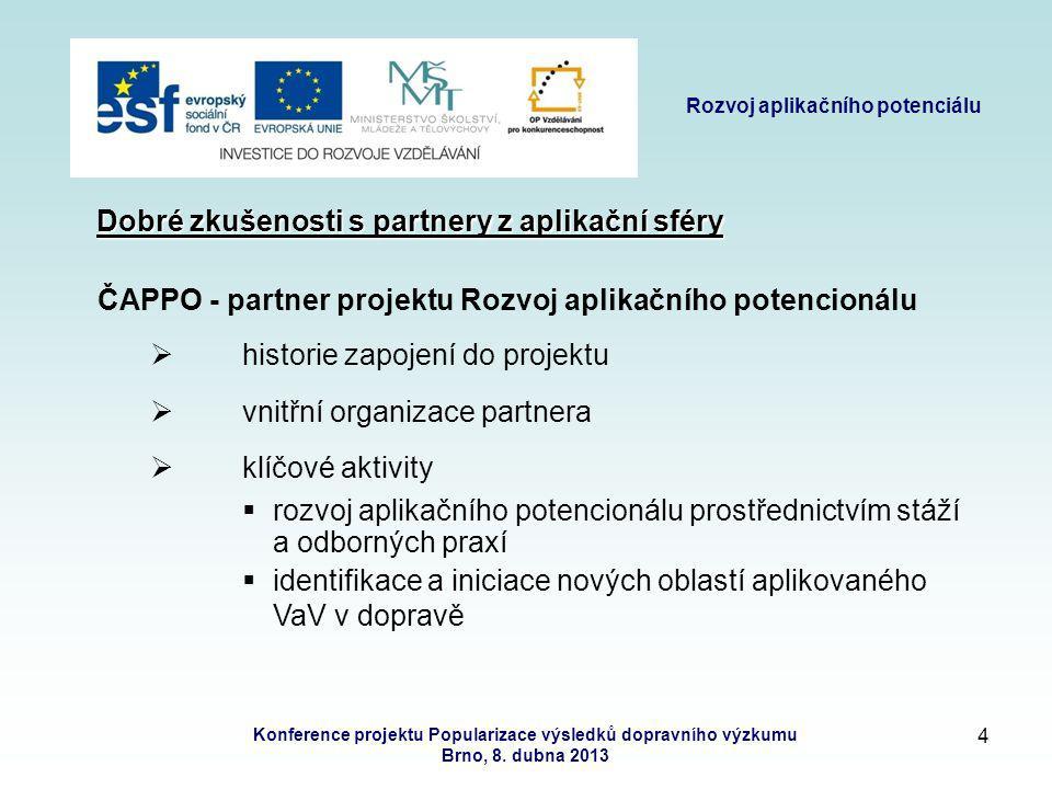 3 Rozvoj aplikačního potenciálu Konference projektu Popularizace výsledků dopravního výzkumu Brno, 8.