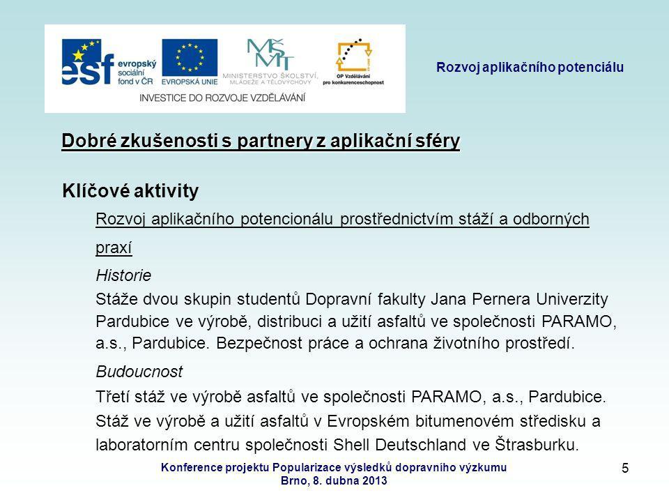 4 Rozvoj aplikačního potenciálu Konference projektu Popularizace výsledků dopravního výzkumu Brno, 8.