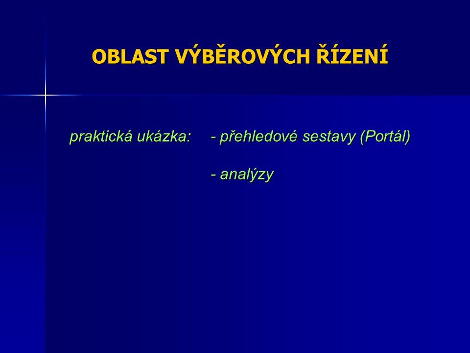 OBLAST VÝBĚROVÝCH ŘÍZENÍ praktická ukázka: - přehledové sestavy (Portál) - analýzy