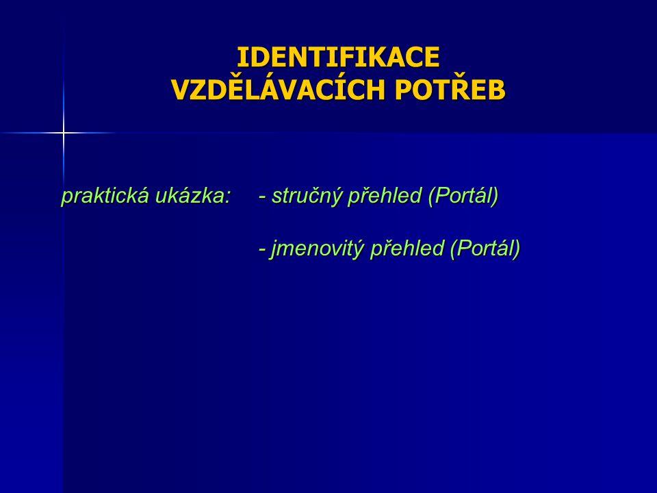 IDENTIFIKACE VZDĚLÁVACÍCH POTŘEB praktická ukázka: - stručný přehled (Portál) - jmenovitý přehled (Portál)