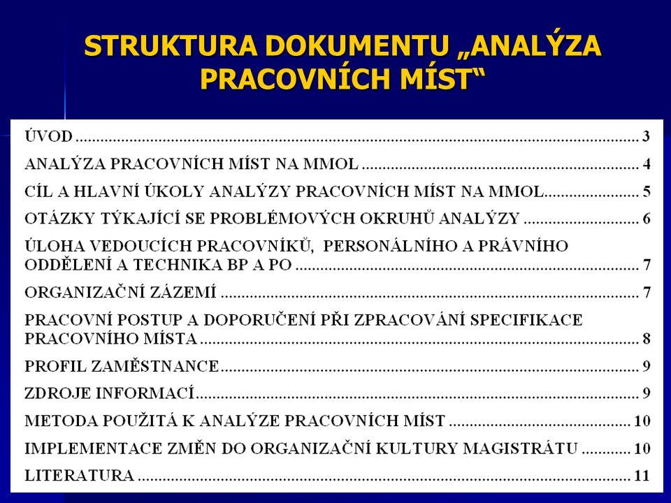 Analýza pracovně sociálního klimatu na Magistrátu města Olomouce - 2011 praktická ukázka: - výstupy z analýzy