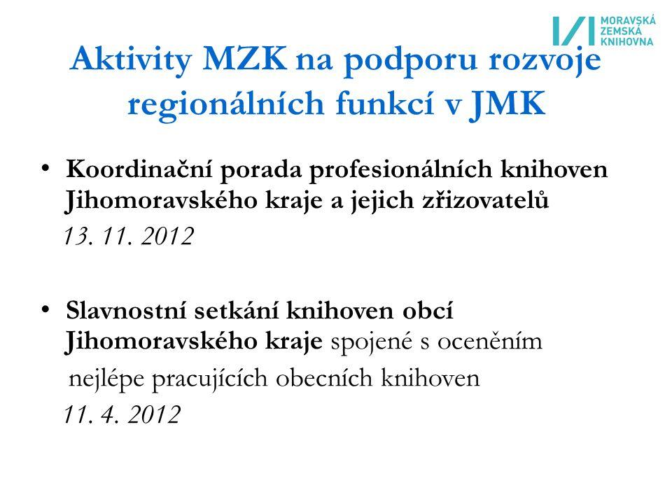 Aktivity MZK na podporu rozvoje regionálních funkcí v JMK Koordinační porada profesionálních knihoven Jihomoravského kraje a jejich zřizovatelů 13.