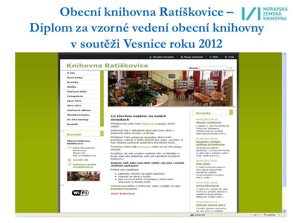 Obecní knihovna Ratíškovice – Diplom za vzorné vedení obecní knihovny v soutěži Vesnice roku 2012