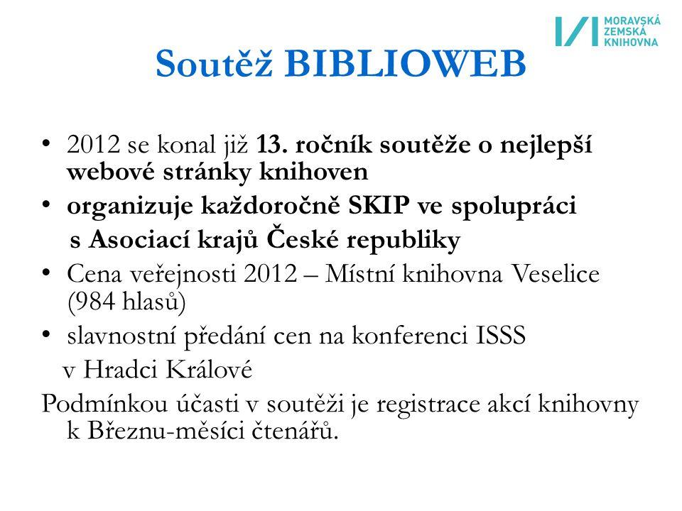 Soutěž BIBLIOWEB 2012 se konal již 13.