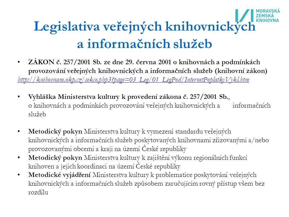 Legislativa veřejných knihovnických a informačních služeb ZÁKON č.