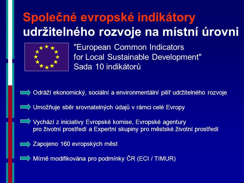 Společné evropské indikátory udržitelného rozvoje na místní úrovni European Common Indicators for Local Sustainable Development Sada 10 indikátorů Odráží ekonomický, sociální a environmentální pilíř udržitelného rozvoje Umožňuje sběr srovnatelných údajů v rámci celé Evropy Vychází z iniciativy Evropské komise, Evropské agentury pro životní prostředí a Expertní skupiny pro městské životní prostředí Zapojeno 160 evropských měst Mírně modifikována pro podmínky ČR (ECI / TIMUR)