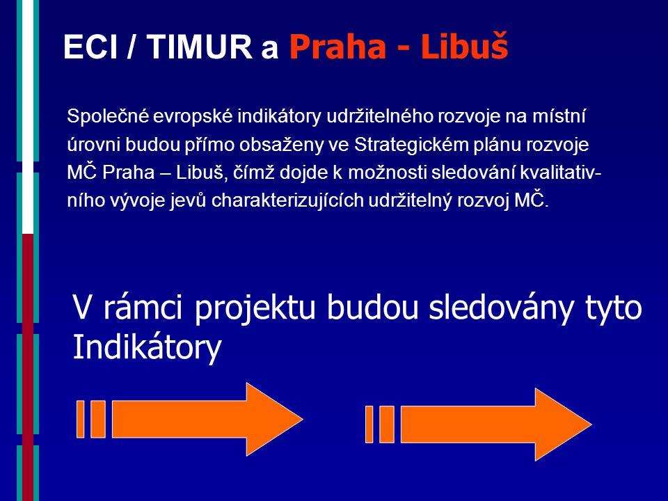 ECI / TIMUR a Praha - Libuš Společné evropské indikátory udržitelného rozvoje na místní úrovni budou přímo obsaženy ve Strategickém plánu rozvoje MČ Praha – Libuš, čímž dojde k možnosti sledování kvalitativ- ního vývoje jevů charakterizujících udržitelný rozvoj MČ.