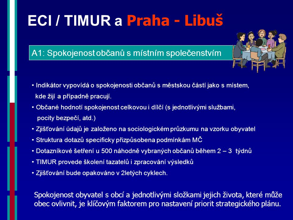 ECI / TIMUR a Praha - Libuš A1: Spokojenost občanů s místním společenstvím Indikátor vypovídá o spokojenosti občanů s městskou částí jako s místem, kde žijí a případně pracují.