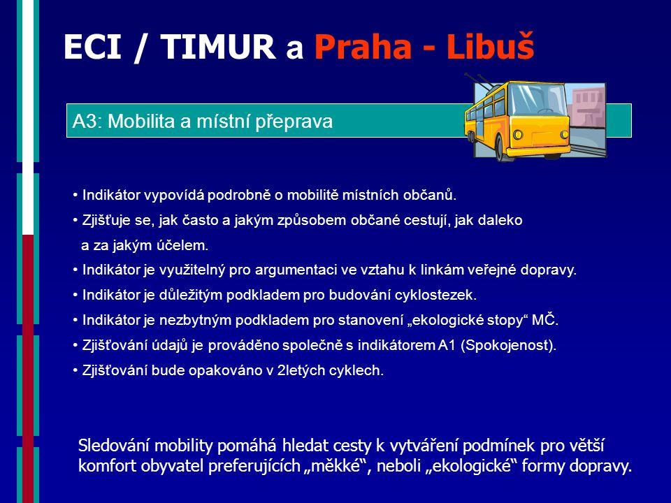 ECI / TIMUR a Praha - Libuš A3: Mobilita a místní přeprava Indikátor vypovídá podrobně o mobilitě místních občanů.