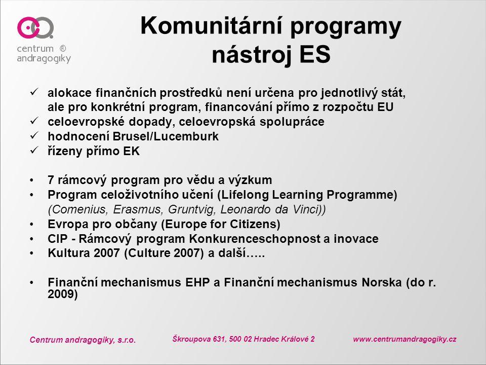 Centrum andragogiky, s.r.o. Škroupova 631, 500 02 Hradec Králové 2 www.centrumandragogiky.cz Komunitární programy nástroj ES alokace finančních prostř