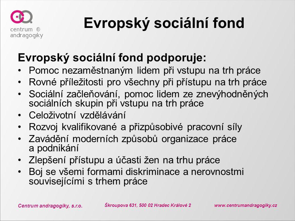 Centrum andragogiky, s.r.o. Škroupova 631, 500 02 Hradec Králové 2 www.centrumandragogiky.cz Evropský sociální fond Evropský sociální fond podporuje: