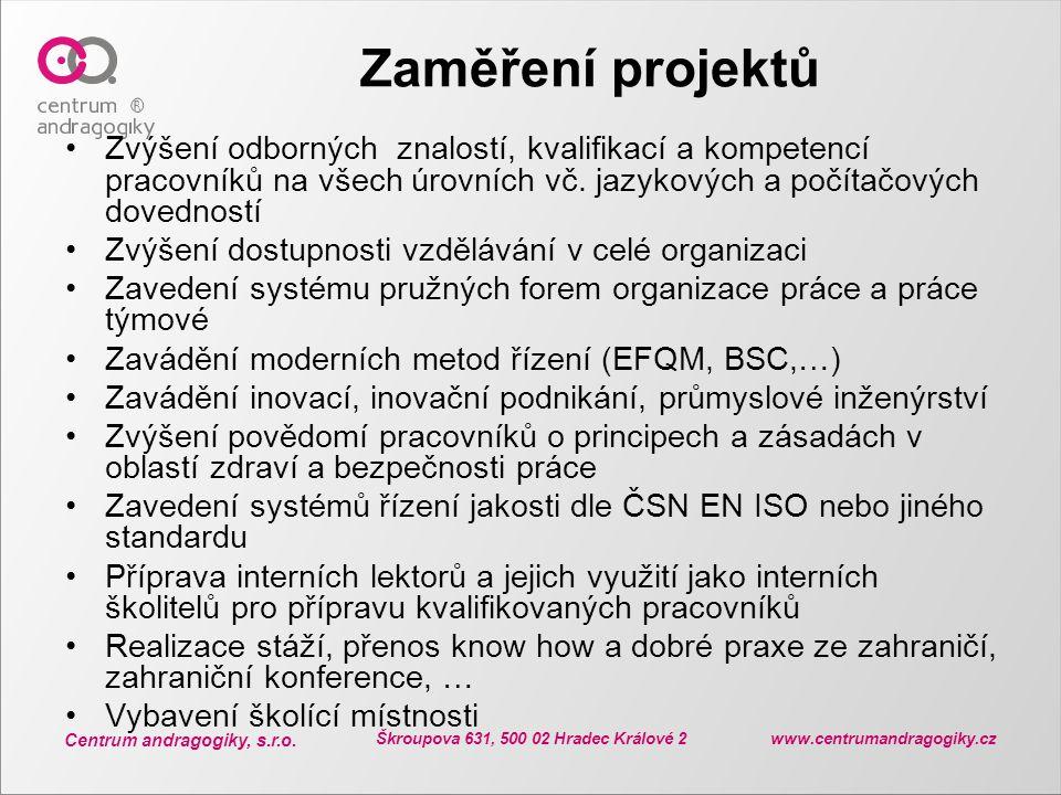 Centrum andragogiky, s.r.o. Škroupova 631, 500 02 Hradec Králové 2 www.centrumandragogiky.cz Zaměření projektů Zvýšení odborných znalostí, kvalifikací