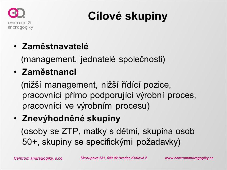 Centrum andragogiky, s.r.o. Škroupova 631, 500 02 Hradec Králové 2 www.centrumandragogiky.cz Cílové skupiny Zaměstnavatelé (management, jednatelé spol