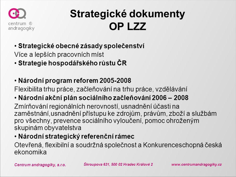 Centrum andragogiky, s.r.o. Škroupova 631, 500 02 Hradec Králové 2 www.centrumandragogiky.cz Strategické dokumenty OP LZZ Strategické obecné zásady sp