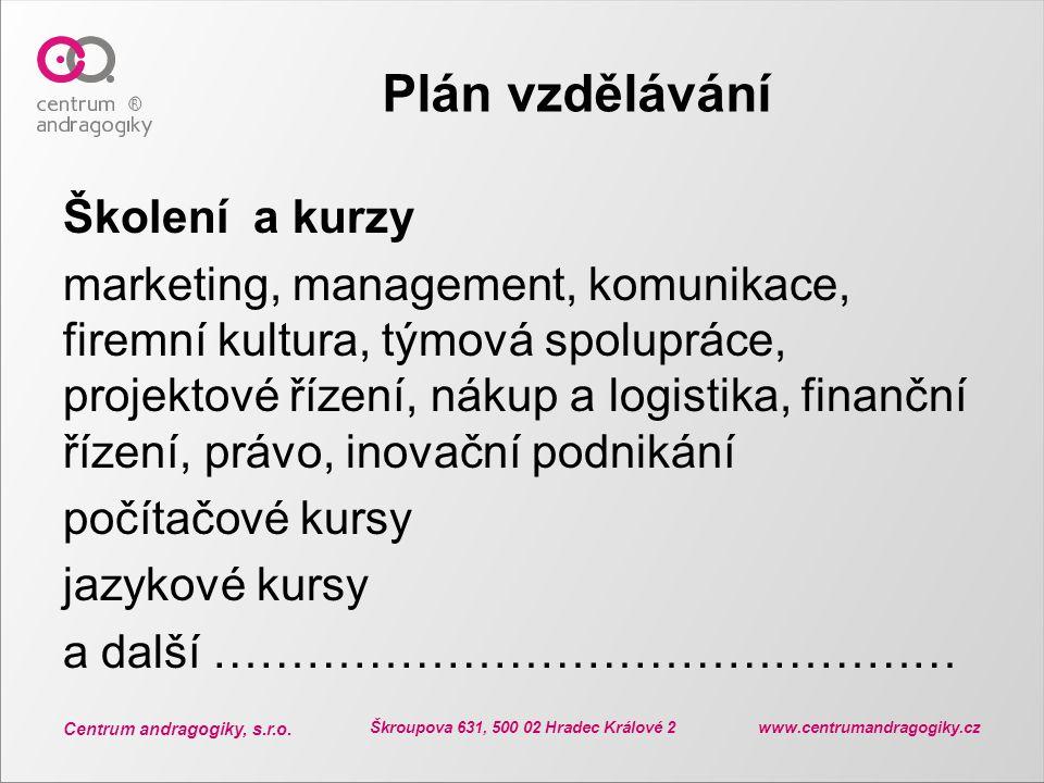 Centrum andragogiky, s.r.o. Škroupova 631, 500 02 Hradec Králové 2 www.centrumandragogiky.cz Plán vzdělávání Školení a kurzy marketing, management, ko