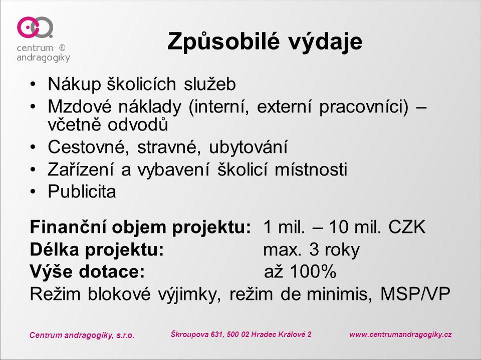 Centrum andragogiky, s.r.o. Škroupova 631, 500 02 Hradec Králové 2 www.centrumandragogiky.cz Způsobilé výdaje Nákup školicích služeb Mzdové náklady (i