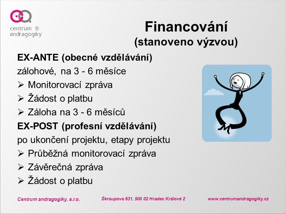 Centrum andragogiky, s.r.o. Škroupova 631, 500 02 Hradec Králové 2 www.centrumandragogiky.cz Financování (stanoveno výzvou) EX-ANTE (obecné vzdělávání